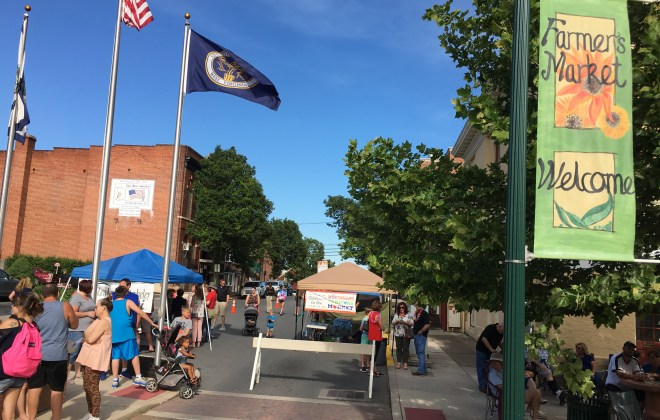 Martinsburg Farmers Market taking place on Friday evenings.