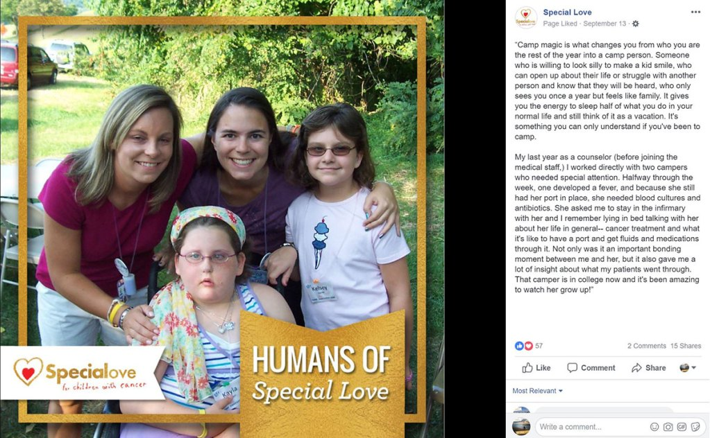 A camp counselor and medical staff tells her story of working with pediatric cancer patients at Special Love's camps.