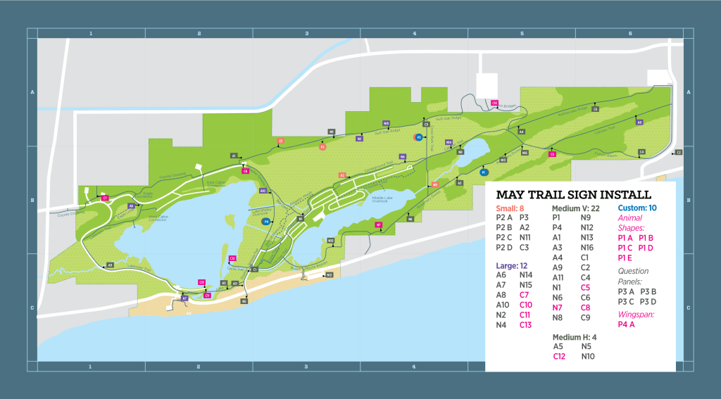 Gulf State Park Trail Signs installation map