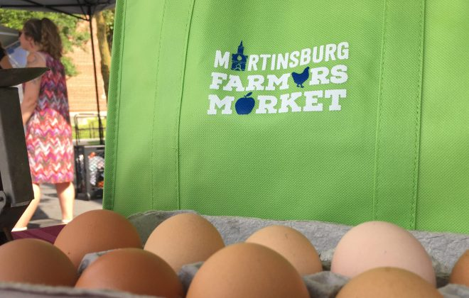Martinsburg Farmers Market Eggs and Shopping bag