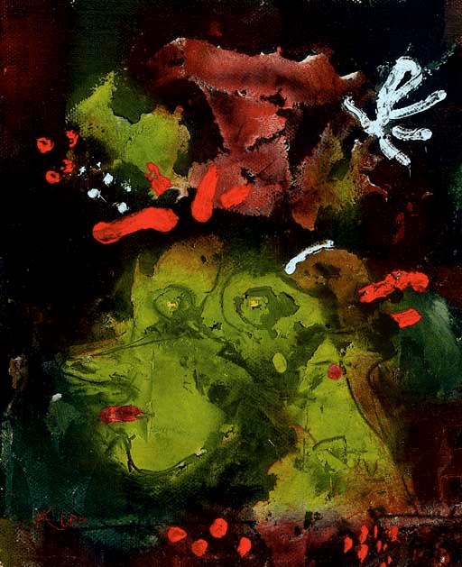 abstract picture on dark baskground green and orange colours