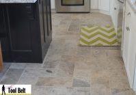 Silver Travertine Tile Herringbone Floor Tutorial Her Tool Bel