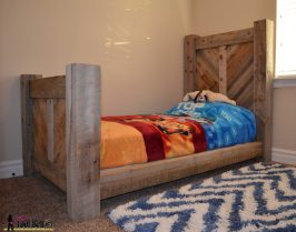 Barnwood bed side view