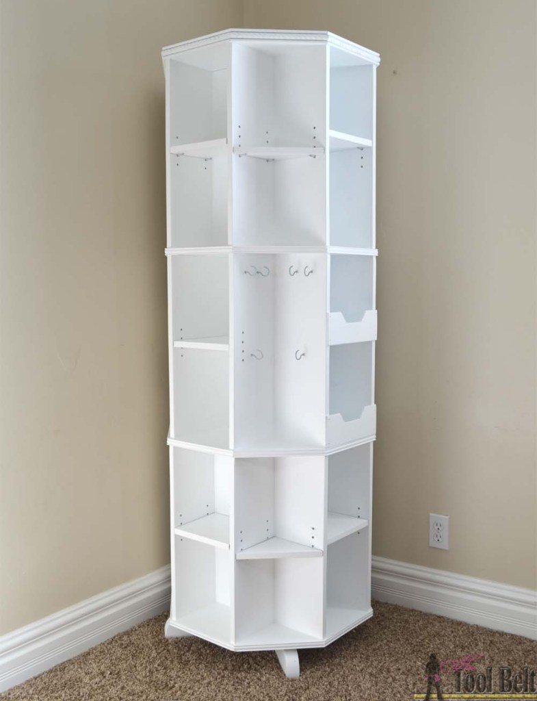 An Octagon Rotating Bookshelf, that would be a perfect addition to a small  space or used in a corner. Check out all that storage!