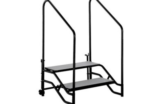 Portable Steps With Handrails For 16H Or 24H Mobile Stage Fst 216A | Portable Stairs With Handrail | Chair | Plastic Portable | Camper | Wall Mounted | Ladder