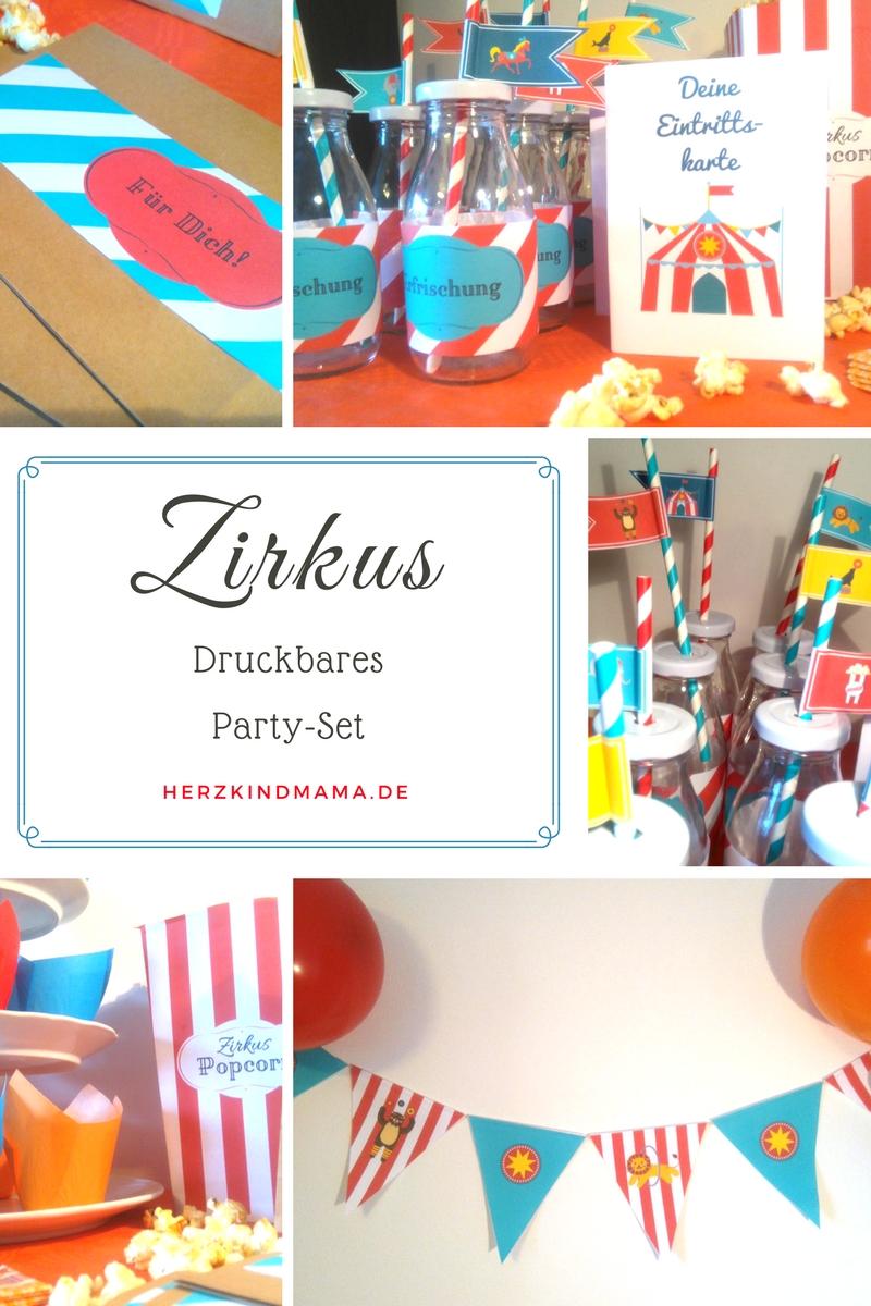 Zirkus Party Set Kindergeburtstag Zum Ausdrucken Basteln Printable Vorlage  Dekoration Fähnchen Girlande Einladungskarten