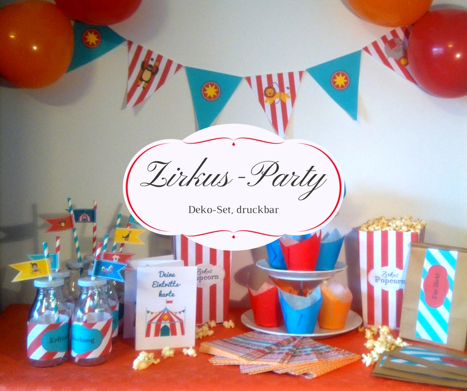 Zirkus party set gratis druckvorlagen herzkindmama for Kindergeburtstag party set