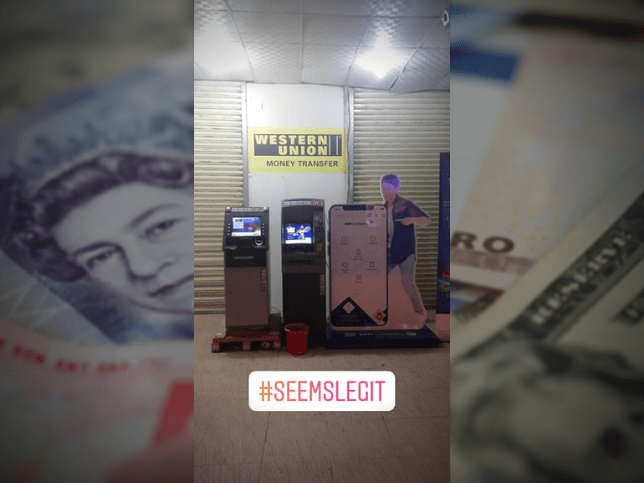 Suspicious ATMs in Vietnam with images of money in the background