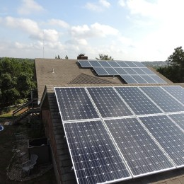 two solar roofs with panels
