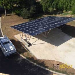 solar carport installed in the Texas hill country