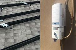 split image of solar edge dc optimizers on a roof and a solar invert on the wall
