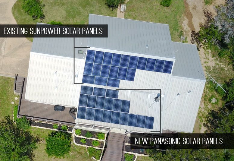 Solar array that has Sunpower and Panasonic solar panels in Austin TX