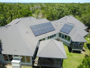 solar panels on a single story home in Bastrop Texas