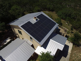 Sunpower solar panels on a house in New Braunfels TX