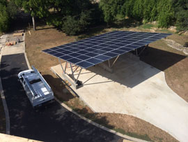 solar carport installation in the Wimberley Hill Country