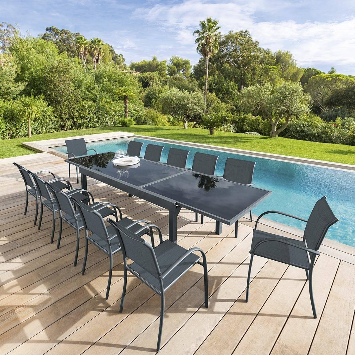 table de jardin extensible piazza anthracite graphite hesperide com