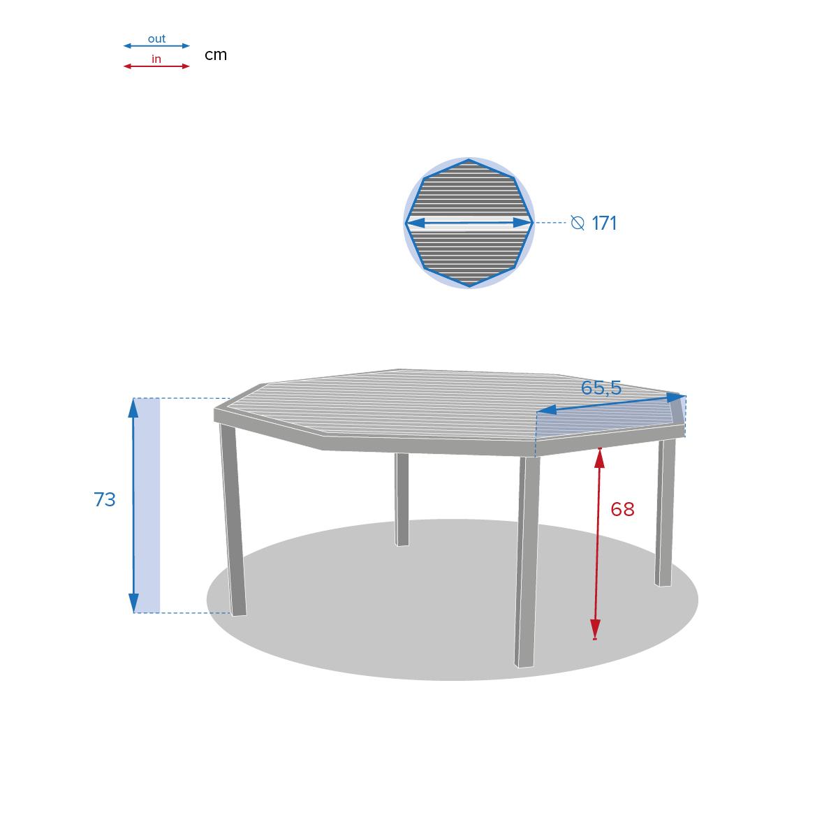 table de jardin octogonale piazza tonka hesperide com