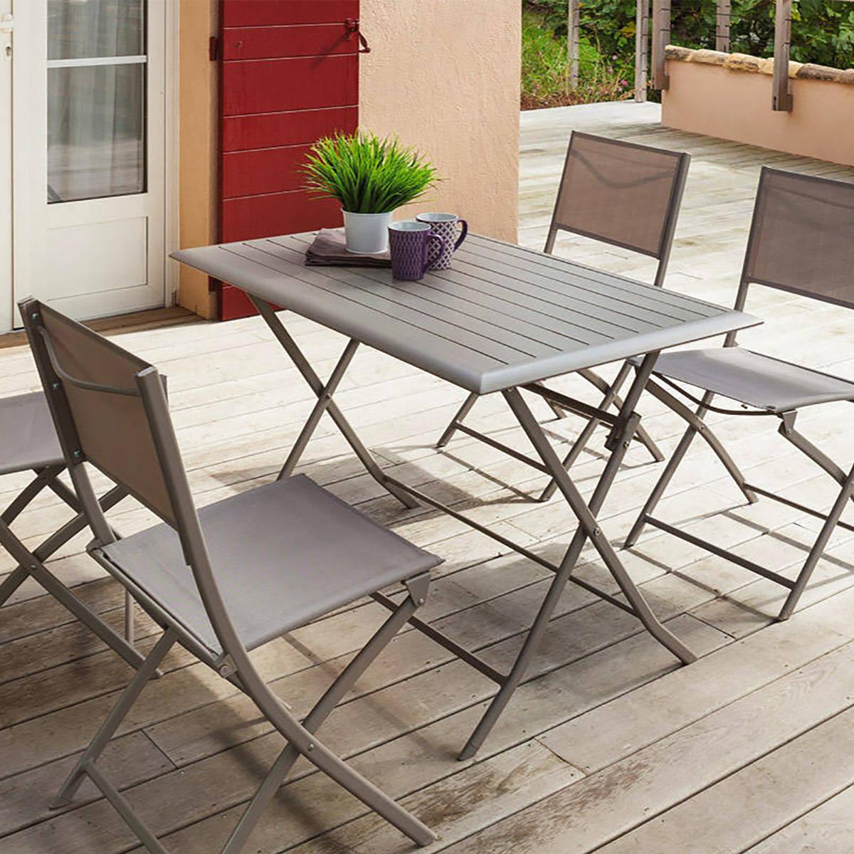 table de jardin pliante rectangulaire azua taupe 4 places aluminium traite epoxy hesperide taupe