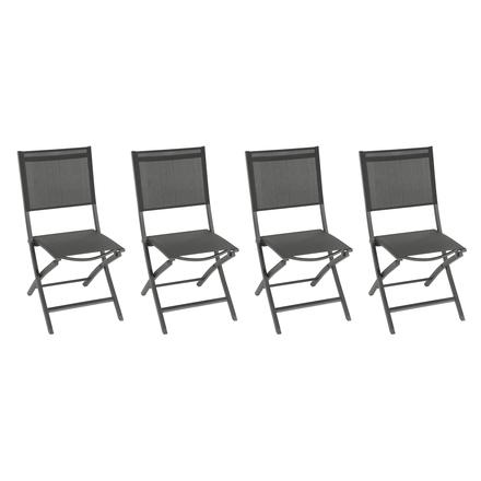 lot de 4 chaises de jardin pliantes essentia anthracite gris hesperide com