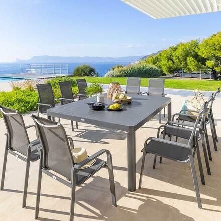 table de jardin extensible carree paradize graphite hesperide com