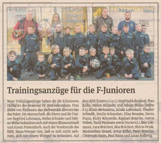 E-Junioren Trainingsanzüge 2014
