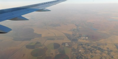 View from an airplane of Gauteng landscape ten minutes to touchdown at OR Tambo Airport, Johannesburg