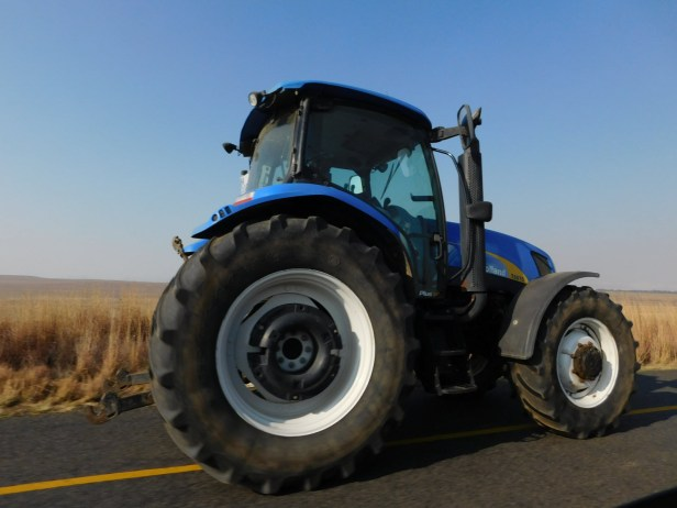 Tractor seen along the road in a farming community in the Free State