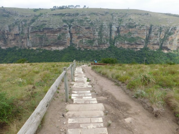 Steps leading down to the Bushman Caves in Lake Eland Nature Reserve, Oribi Gorge