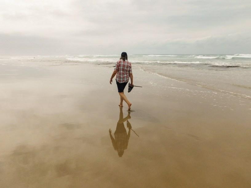 Walking on Trafalgar Beach, KwaZulu-Natal at low tide