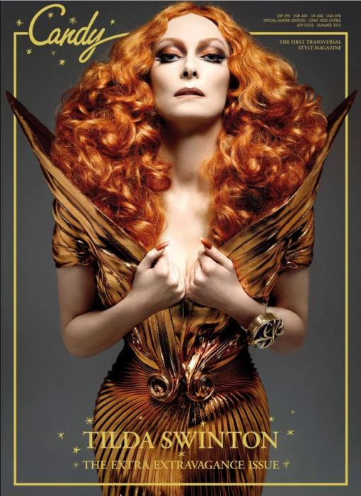Tilda Swinton en couverture du magazine Candy en 2012.