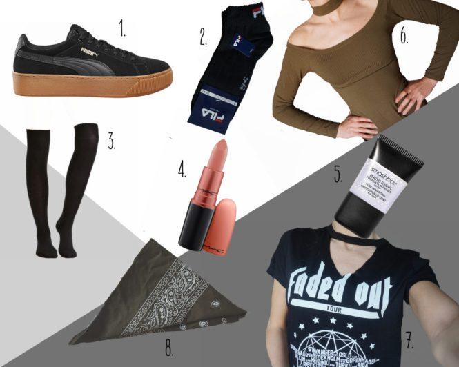 creepers, high knee socks, bandana, rock tee, chokerhals, primer, velvet teddy, fila sokken