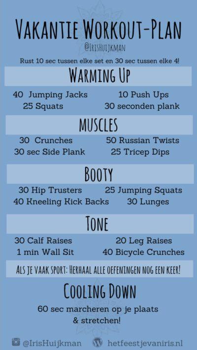 Sporten zomervakantie workout-plan fitness zomer Vakantie