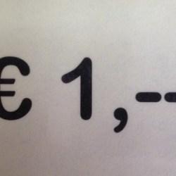 € 1,-- per stuk