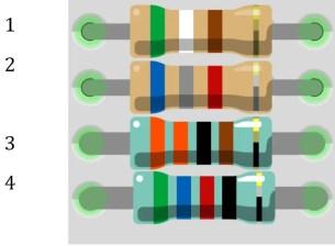 código de colores de resistencia de 4 bandas