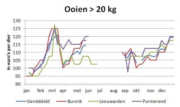 grafiek met marktprijzen van ooien boven 20 kg