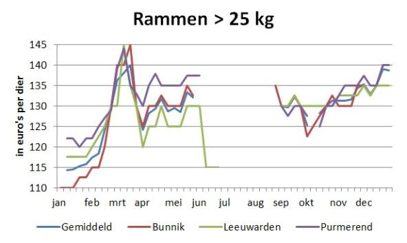 grafiek met marktprijzen van rammen boven 25 kg