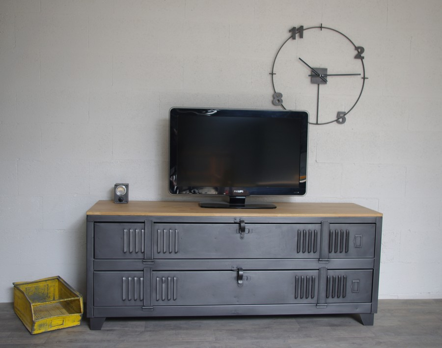 Meuble Tv Industriel Ancien Vestiaire Usine Dcoration