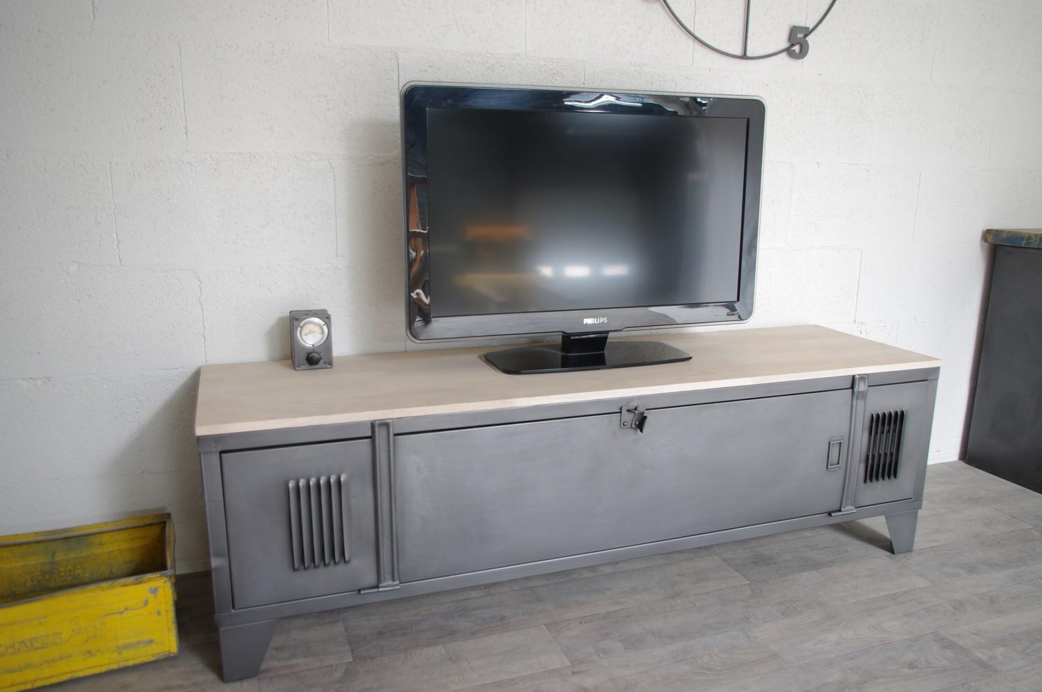 meuble tv industriel avec ancien vestiaire ref tampa
