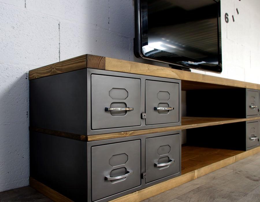 meuble tele style industriel sur mesure en acier et bois