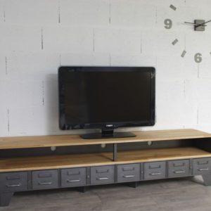 Industriel Meuble Tv Mtal Et Bois Tiroirs