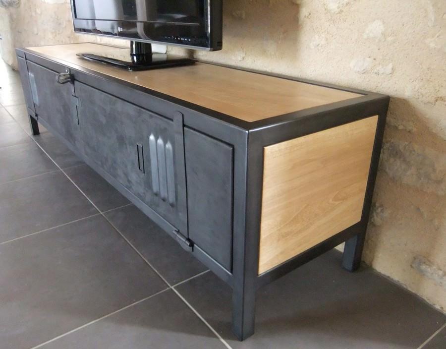 meuble tv industriel en acier bois et porte de vestiaire ref riverside