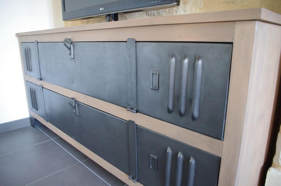 meuble tv buffet bois metal industriel sur mesure ref plano