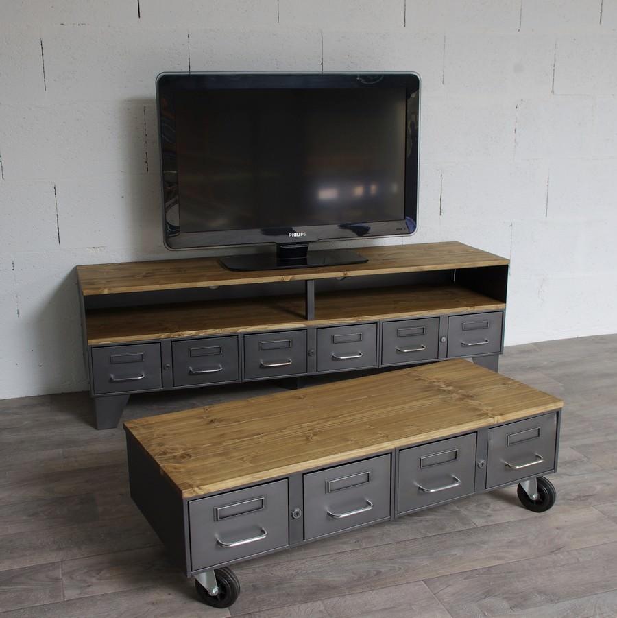 petite table basse industrielle avec anciens tiroirs ref miami