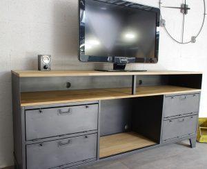 meuble tv industriel sur mesure clapets