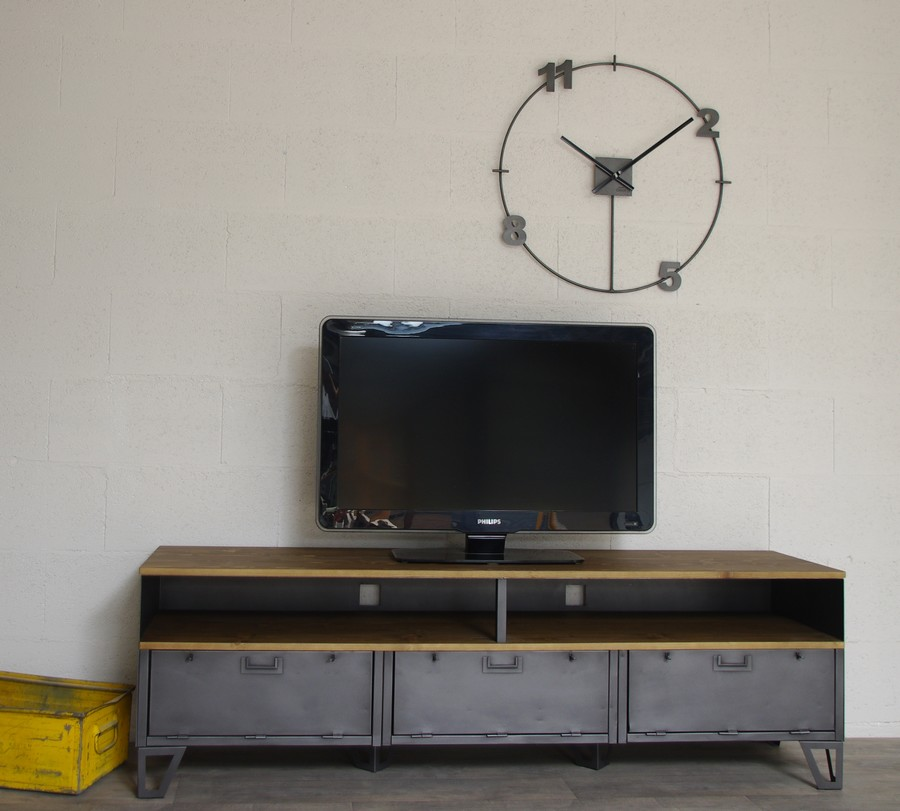 meuble tv style industriel a 3 clapets et niche ref omaha