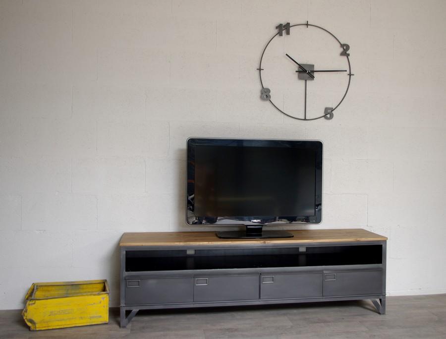 meuble tele industriel avec 4 clapets et niche ref colombus