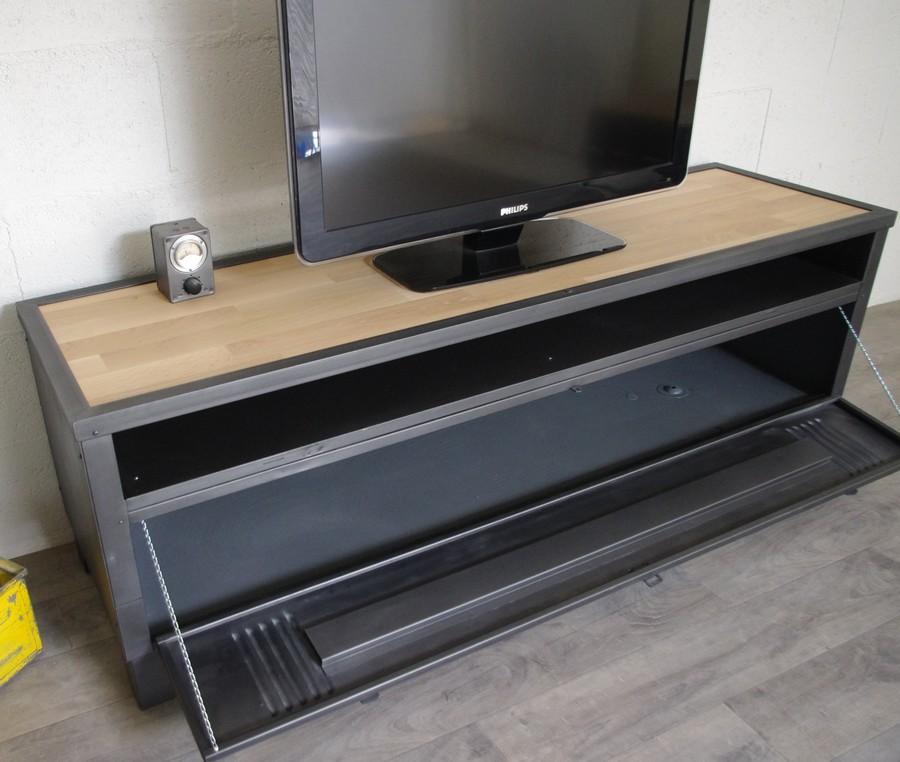 meuble tv avec ancien vestiaire et niche ref milwaukee