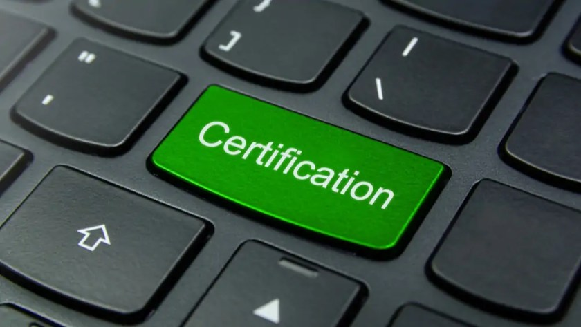 Certification button on a keyboard