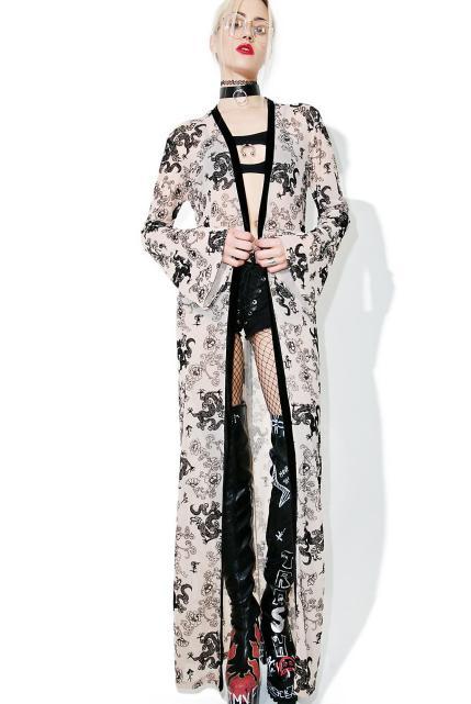 Jaded London Flock Print Mesh Maxi Kimono