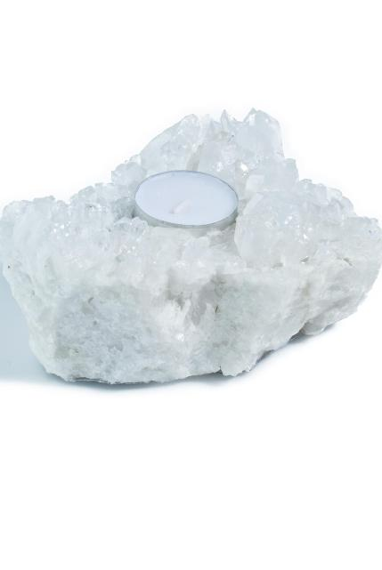 Soul Makes Clear Quartz Cluster Candleholder